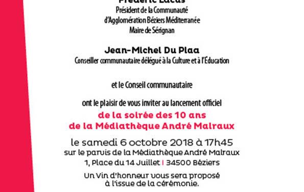 Le dixième anniversaire de la médiathéque André Malraux de Béziers