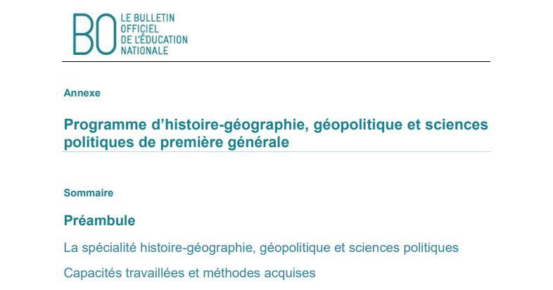 Les nouveaux programmes d'Histoire-Géographie des lycées