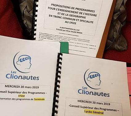 Les Clionautes au conseil supérieur des programmes ce 20 mars