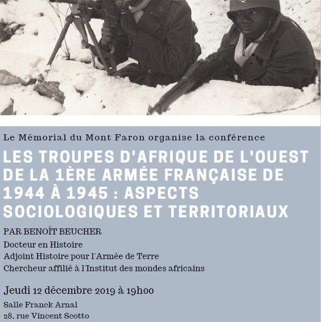 Conférence – Les troupes d'Afrique de l'Ouest de la 1ère armée française 1944-1945: aspects sociologiques et territoriaux