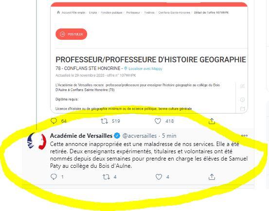 l'académie de Versailles réagit sur Twitter dimanche 29 novembre à 15h15