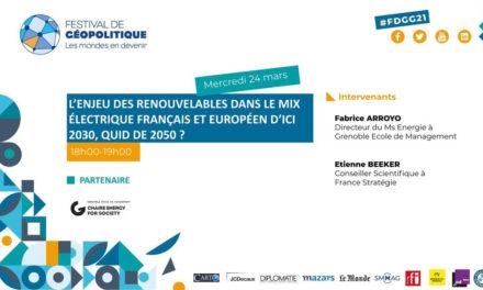 Conférence L'enjeu des renouvelables dans le mix électrique Français et européen d'ici 2030, quid de 2050 ?