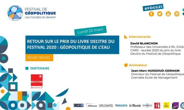 Prix du livre Decitre du Festival 2020 : Géopolitique de l'eau