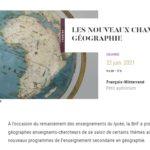 Géographie, les nouveaux champs dans les programmes actuels des lycées