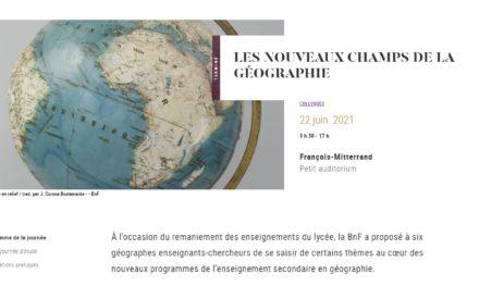 Géographie–nouveaux champs