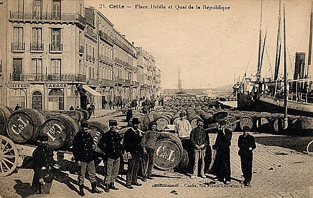 Sète port pinardier - carte postale de 1918